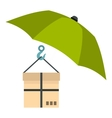 Umbrella and box icon flat style vector image