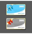 Colorful gift cards with realistic ribbons vector image