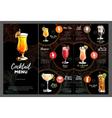 Cocktail menu design vector image