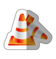 sticker colorful realistic striped couple traffic vector image