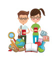 nerd students glasses book college tools vector image