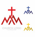 triangles mountains the cross of jesus vector image