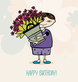 boy with flowers vector image