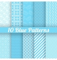 10 Blue different seamless patterns tiling vector image
