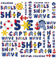 seamless sea pattern of words vector image