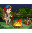 Little girl standing by the campfire vector image