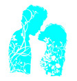 couple in love silhouette with floral ornament vector image