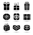Gift box black icon set different styles vector image