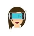 Person playing virtual reality glasses helmet via vector image