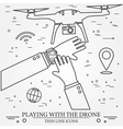 Playing with the drone copter Remote Control with vector image