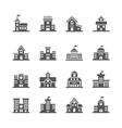 School building icons set vector image