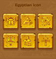 set of design golden egypt travel icons vector image