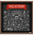 Vacation doodles on chalk board vector image