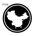 white map of china on black circle vector image