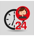 man assitance 24 hours clock vector image