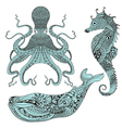 Zentangle stylized Octopus Whale and Sea Horse vector image