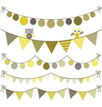 Bunting Owl Banner Party set vector image vector image