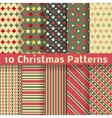 Christmas different seamless patterns tiling vector image