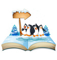 Four penguins standing on ice vector image