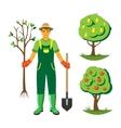 Gardener with trees flat set vector image