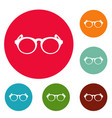 plastic frame icons circle set vector image