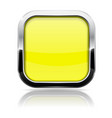 square button yellow web icon with metal frame vector image