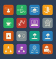 business and social network icons set flat design vector image