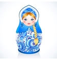 Russian traditional doll in Gzhel style vector image