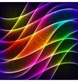 Neon rainbow waves background vector image