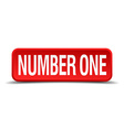 number one red 3d square button isolated on white vector image