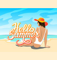 hello summer lettering with girl vector image