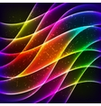 Neon rainbow waves background vector image
