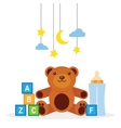collection of toys on a white background vector image