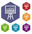 Flipchart with marketing data icons set vector image