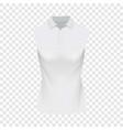 White sleeveless polo tshirt mockup vector image