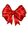 Red bow with golden strips vector image vector image