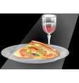 wine and pizza vector image vector image