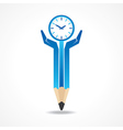 Save time concept with pencil hands vector image vector image