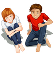 A topview of people sitting down vector image