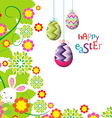 easter eggs and bunny background beautiful vector image vector image