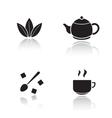 Tea accessories drop shadow icons set vector image