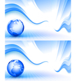 Blue wavy background with globe vector image