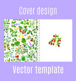 cover design with herbs berries pattern vector image