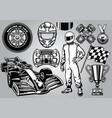 formula racing set black and white vector image
