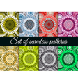 Mandala seamless pattern set vector image