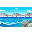 Ocean view with the bridge vector image