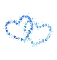 Two blue outline hearts isolated on white vector image