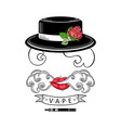 vape shop logo design with stylized smoking woman vector image