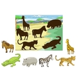 Match animals to their shadows educational game vector image