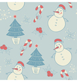seamless pattern with snowman and christmas decora vector image